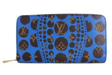 blue pumpkin dot wallet